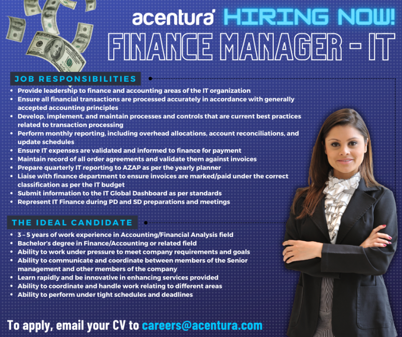 Acentura Careers Finance Manager - IT